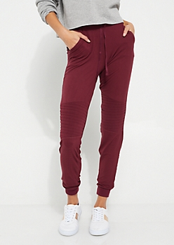 Burgundy Soft Knit Moto Joggers