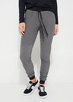 Gray Moto Knee High Waist Knit Joggers