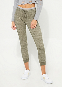 Olive Contrast Striped Joggers