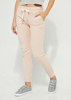 Pink Soft Knit Moto Joggers