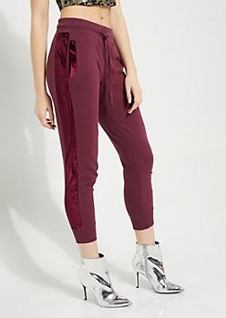 Burgundy Knit Velvet Side Joggers