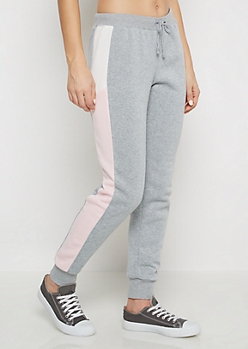 Pink Two-Tone Striped Inset Jogger