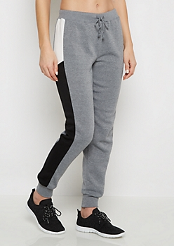 Gray Two-Tone Striped Inset Jogger