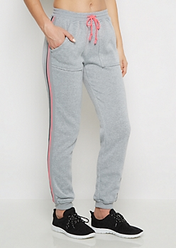 Neon Fuchsia Striped Fleece Jogger