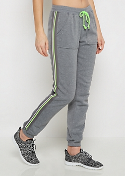 Neon Green Striped Fleece Jogger