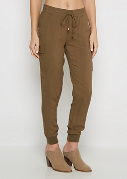Olive Cargo Woven Jogger