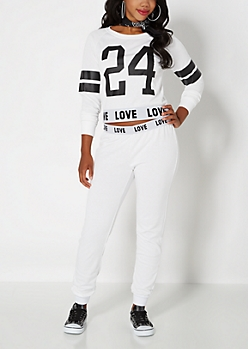 Love Fold-Over Waist White Jogger