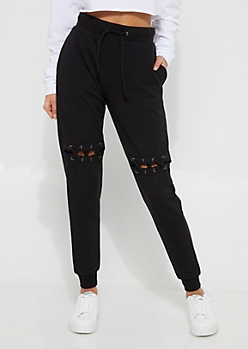 Black Lace Up Knee Cutout Joggers