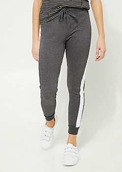 Black Stripe Knit Jogger
