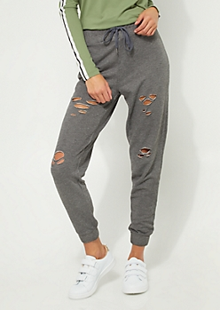 Gray Distressed Jogger