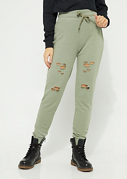Olive Distressed Jogger