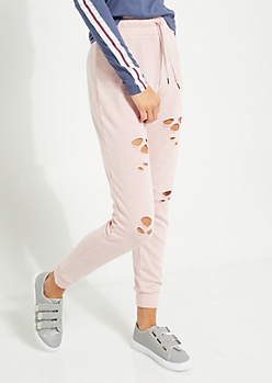 Pink Distressed Jogger