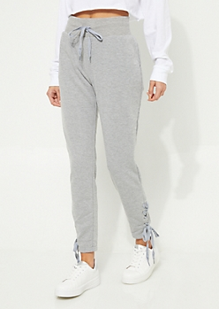 Heather Gray Lace-Up High Waist Knit Joggers