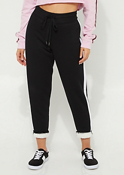 Black Stripe Sherpa Lined Jogger