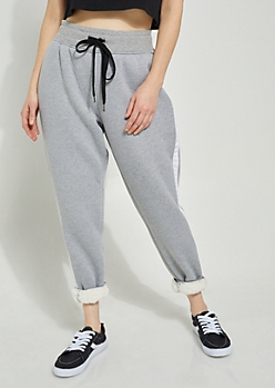 Gray Athletic Stripe Sherpa Lined Joggers