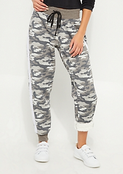 Camo Athletic Stripe Sherpa Lined Joggers