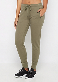 Olive Zip Pocket Jogger