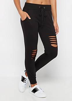 Black Ripped Knit Jogger