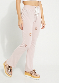 Pink Lace-Up Distressed Joggers
