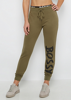 Olive Bossy Layered Fleece Jogger