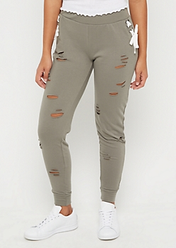 Olive Ripped Lace Up Jogger