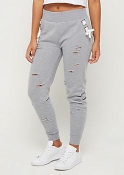 Lace Up Distressed Knit Jogger