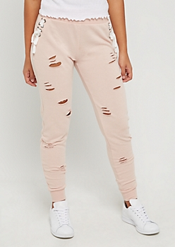 Pink Ripped Lace Up Jogger
