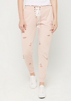 Pink Lace Up Distressed Jogger
