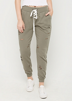 Olive Lace Up Distressed Jogger