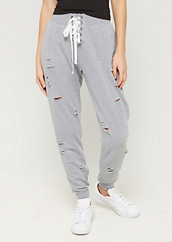 Heather Gray Lace Up Distressed Jogger