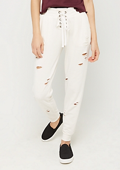Ivory Lace Up Distressed Jogger
