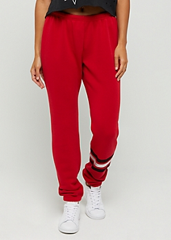 Red Striped Ankle Boyfriend Jogger