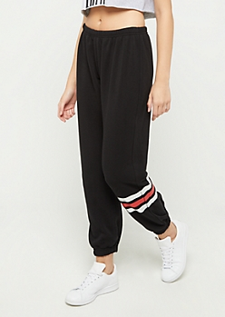 Black Striped Ankle Boyfriend Jogger