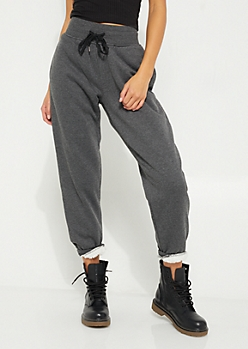 Charcoal Gray Sherpa Lined Jogger