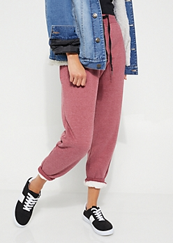 Burgundy Sherpa Lined Jogger