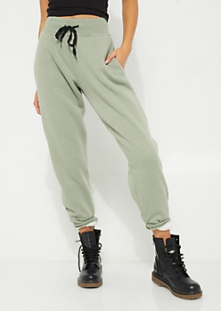 Olive Sherpa Lined Jogger