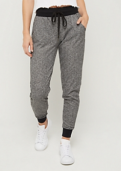 Black Marled Knit Jogger