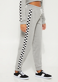 Heather Gray Checkered High Rise Jogger