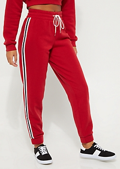 Red Striped High Rise Jogger