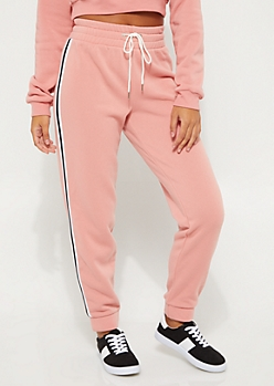 Pink Striped High Rise Joggers