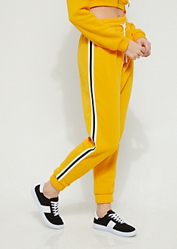Yellow Striped High Rise Jogger