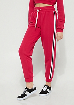 Dark Pink Striped High Rise Jogger