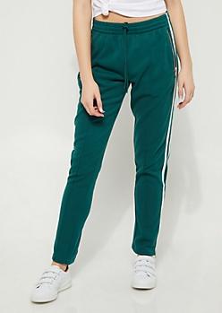 Green Varsity Zip High Rise Jogger