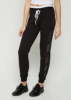 Black Foiled Lightening Layered Waist Jogger