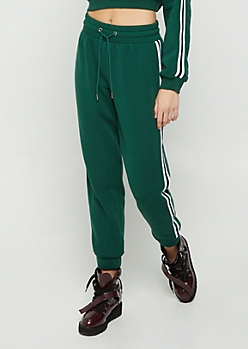 Dark Green Striped High Waist Jogger