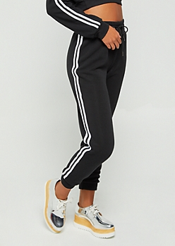 Black Striped High Waist Jogger