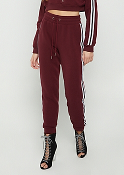 Burgundy Striped High Waist Jogger