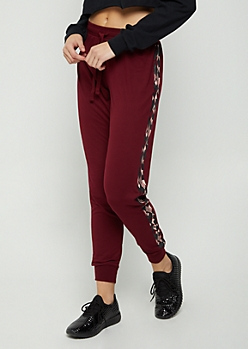 Burgundy & Pink Aztec Soft Brushed Jogger