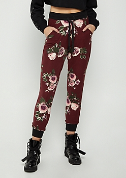 Burgundy Floral Soft Brushed Jogger