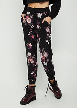 Black Floral Soft Brushed Jogger